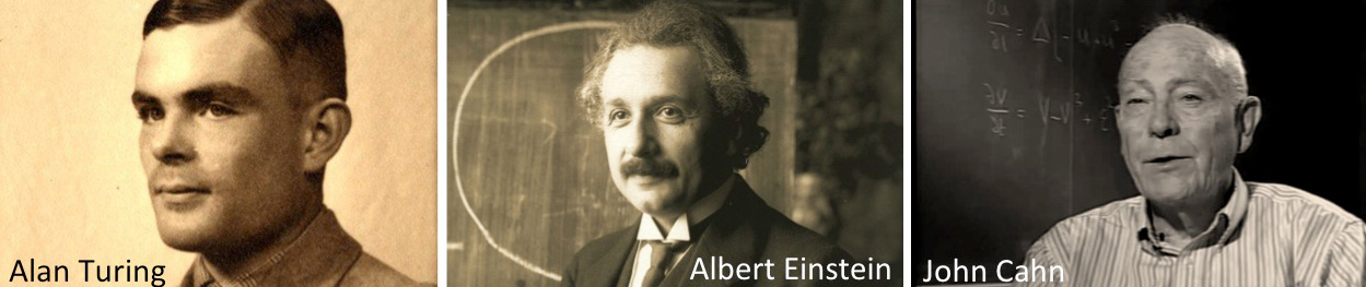 Why work links to universal principles outlined by Turing, Einstein and Cahn